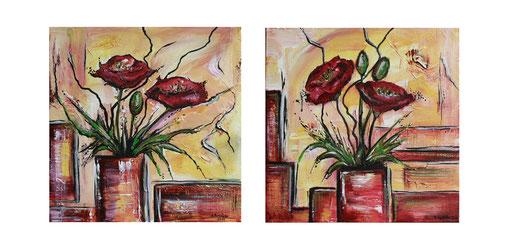B 52 - Blumen Malerei Blumengemälde handgemalt Mohnblumen zweiteilig 40x40