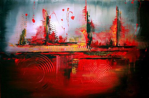 206 Verkaufte abstrakte Malerei - Vulkan xxl gemalt - rot grau gelb