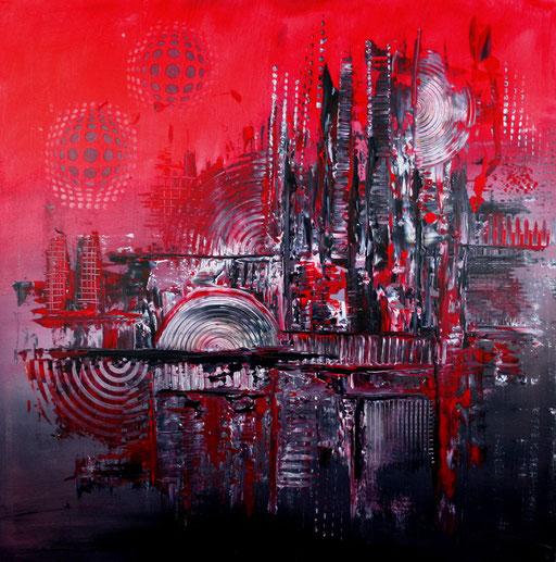 204 Verkaufte abstrakte Malerei - Vulcano gemalt - rot grau blau