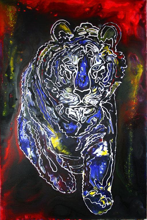 T 16 - Tierbilder Malerei Tiere - Tiger weiß blau