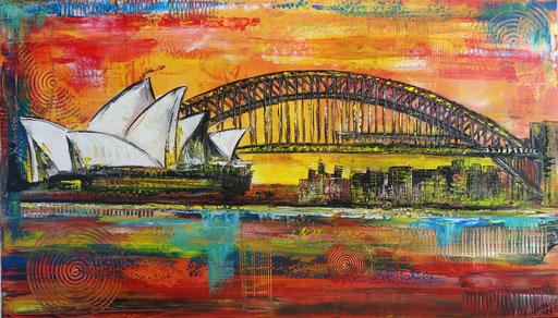 S 91 - Malerei Bild Wandbild Sydney Oper Habour Bridge Skyline abstrakt