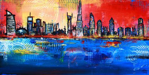 S 9 - Stadtbilder auf Leinwand - Dubai blau gelb