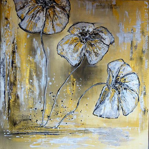 B 30 - Blumenbilder auf Leinwand - Goldener Mohn