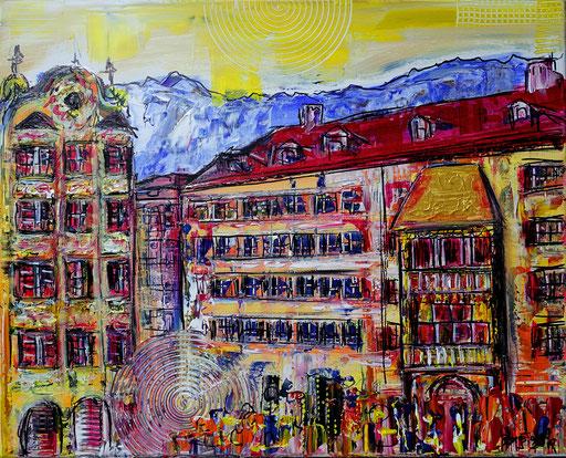 S 50 - Innsbruck abstrakt Goldenes Dachl 50x60 - Malerei Stadtbild Stadt Gemälde