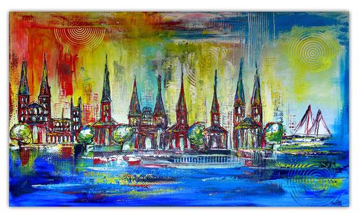 S 56 - Lübeck skyline stadtbild handgemalt 140x80