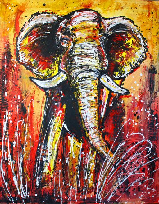 T 4 - Tierbilder Gemälde Tiere - Elefant modern bunt