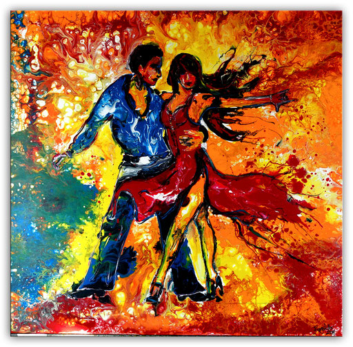 S 71 Salsa Tänzer Tanzpaar abstrakt gemalt