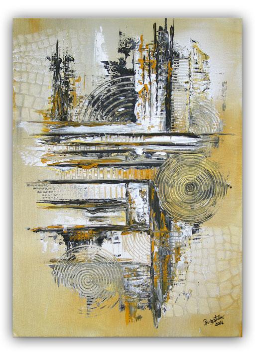 244 Verkaufte abstrakte Malerei gold silber quadratisch