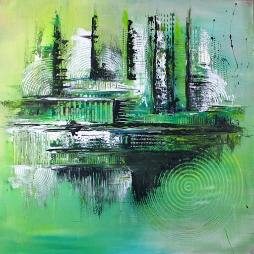 188 Verkaufte Bilder abstrakt - Traffic grün pastell grau
