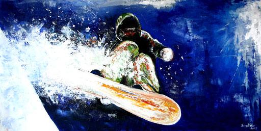 S 22 - Sport Gemälde Skifahrer Leinwandbild - Snowboarder