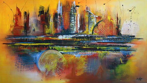43 Kunst Unikat abstrakt - Dubai City XXL - blau gelb braun ocker
