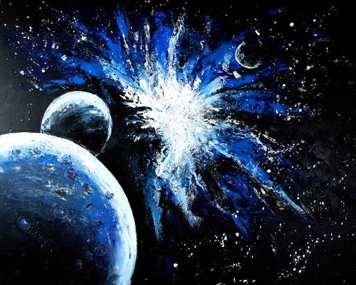 214 Verkaufte abstrakte Malerei - Weltraum gemalt - blau schwarz weiß