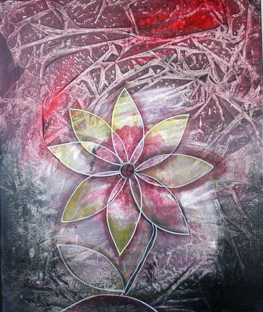 B 3 - Blumenbilder auf Leinwand - Blume rot lila