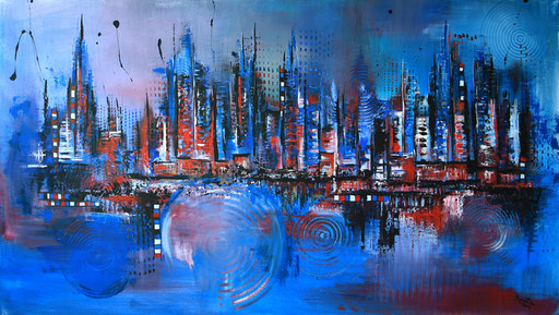 23 Handgemaltes Unikat abstrakt - Blue Skyline - blau rot grau Stadt