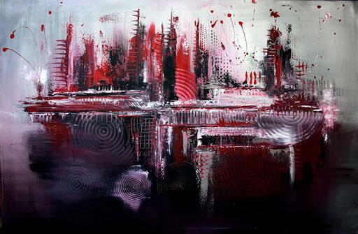 170 Verkaufte Bilder abstrakt - Skyline Silber Rot Schwarz
