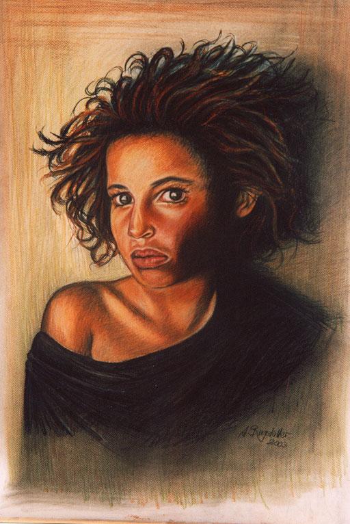 P 36- Künstler Portrait Gesichter Gemalt - Mädchen