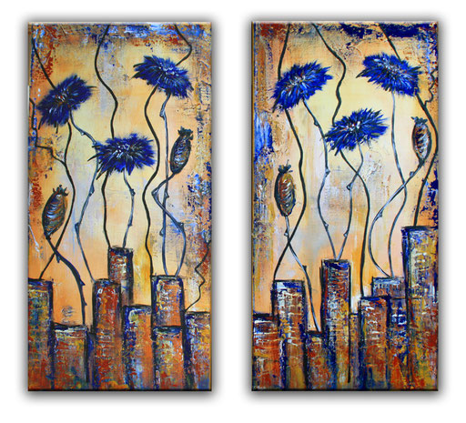 B 13 - Blumenbilder auf Leinwand - Kornblumen zweiteilig