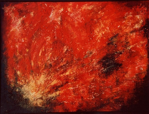 202 Verkaufte abstrakte Malerei - Urknall handgemalt - rot gelb schwarz