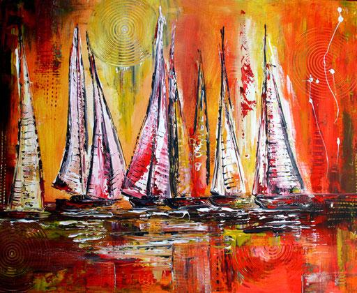 L 8 - Landschaftsbilder Gemälde - Segelboote Sonnenuntergang
