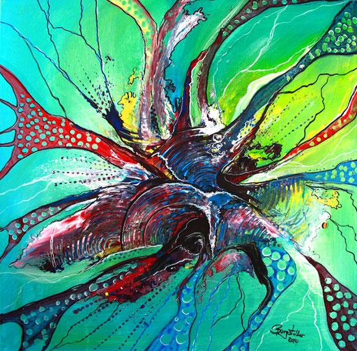 198 Verkaufte abstrakte Malerei - Underwater gemalt - grün blau gelb