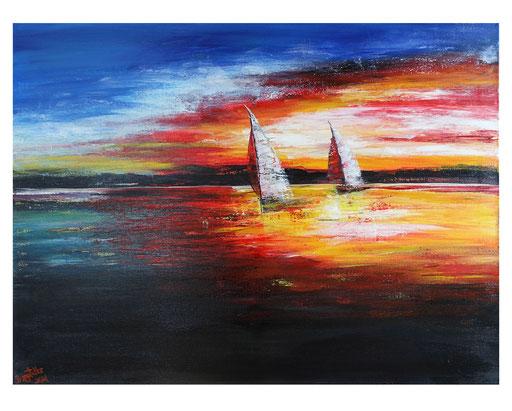 L 36 Sonnenuntergang mit 2 Segelbooten