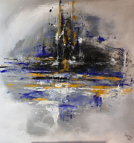 219 Verkaufte abstrakte Malerei - Wirbelsturm grau blau ocker