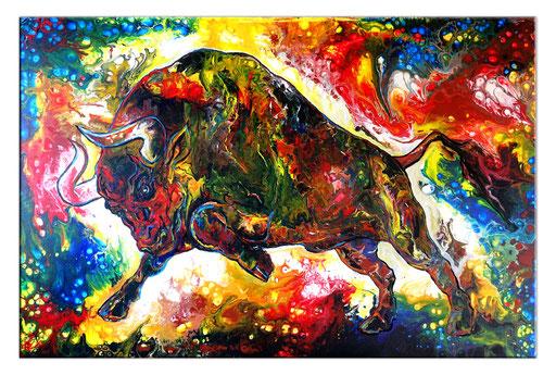 T44 Wilder Stier Bulle Torro Acryl Malerei Gemälde Kunst