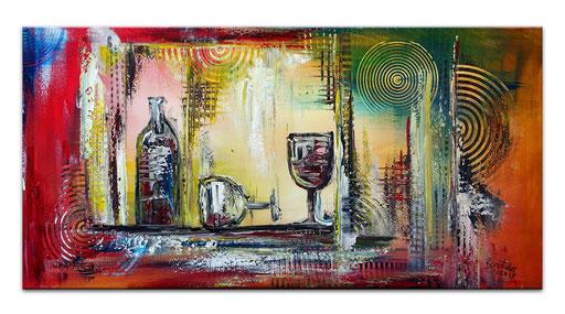 254 Verkaufte abstrakte Malerei Weinflasche Gläser rot blau