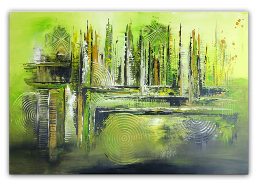 315 - Gras Grün abstraktes Gemälde 116x81