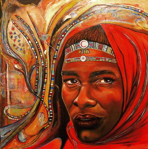 P 30 - Künstler Portrait Gesichter Gemalt - Samburu Krieger