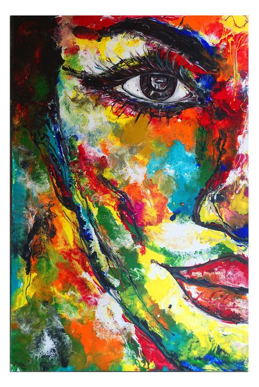 P115 Porträt Malerei Fluid Art Pouring Frauen Gesichter