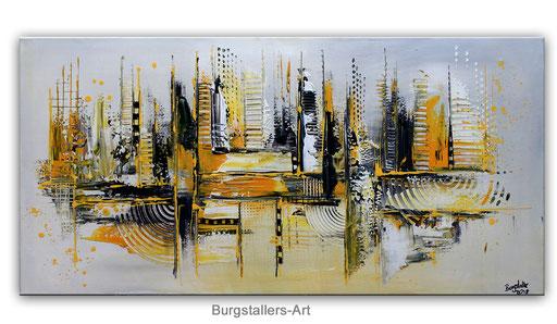 285 - Abstrakte Gemälde Verkauft - Trouble gelb grau 50x100
