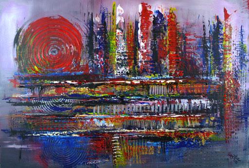 217 Verkaufte abstrakte Malerei - Wilde Malerei rot blau lila