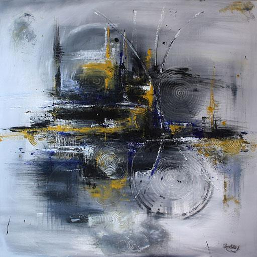 203 Verkaufte abstrakte Malerei - Verkehrschaos gemalt - blau grau
