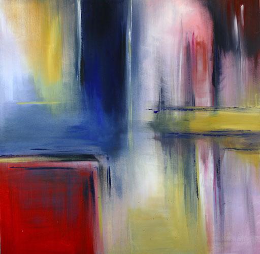 138 Verkaufte abstrakte Bilder - Pastell gemalt - blau gelb rot rosa