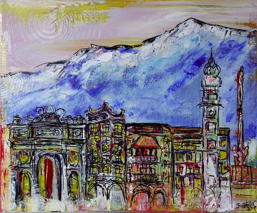 S 51 - S 41 - Innsbruck abstrakt 50x60 - Malerei Stadtbild Stadt Gemälde