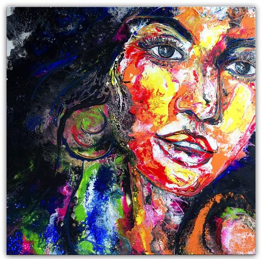 P106 Porträt Malerei Fluid Art Pouring Frauen Gesichter