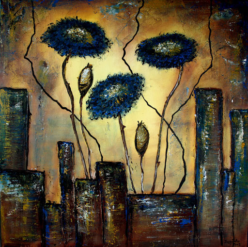 B 50 - Blumen Malerei Blumengemälde handgemalt Kornblumen 2 80x80