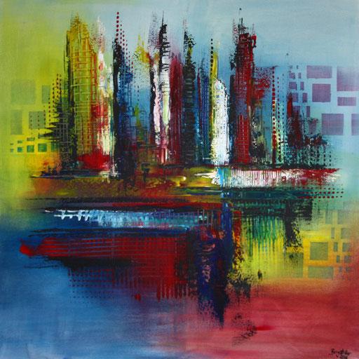 158 Verkaufte Bilder abstrakt - Seattle Skyline gemalt - gelb blau rot
