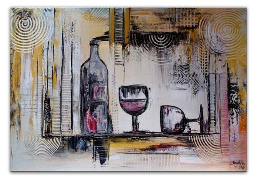 278 - Abstrakte Gemälde Verkauft - Weinflasche Gläser abstrakt Auftragsmalerei