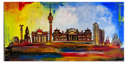 S 63 - Berlin Skyline handgemalt Malerei