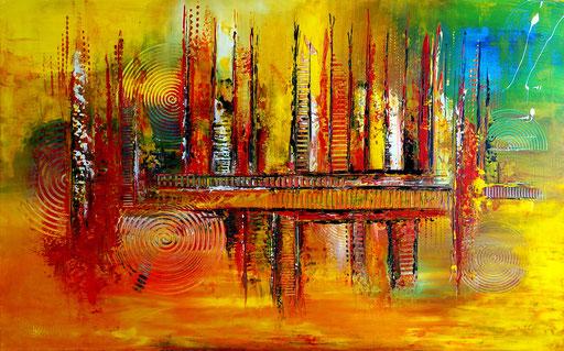 249  Verkaufte abstrakte Malerei orange gelb blau querformat