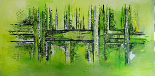 277 - Abstrakte Gemälde Verkauft - gelb grün weiß handgemalt