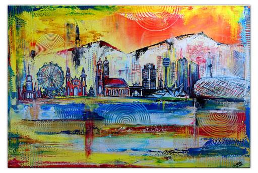 S 78 - Malerei Bild Wandbild München Berge Skyline abstrakt