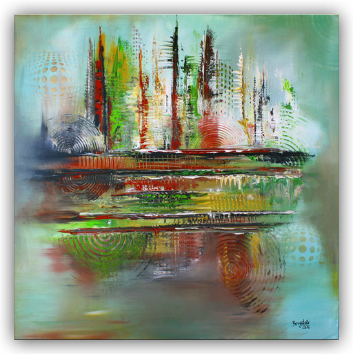 319 - Mirage abstraktes Gemälde grün ocker grau 100x100