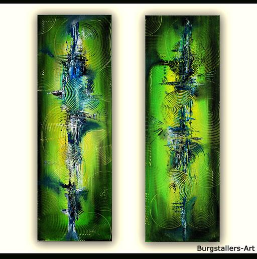 111 Verkaufte abstrakte Bilder - Leuchttürme - grün blau