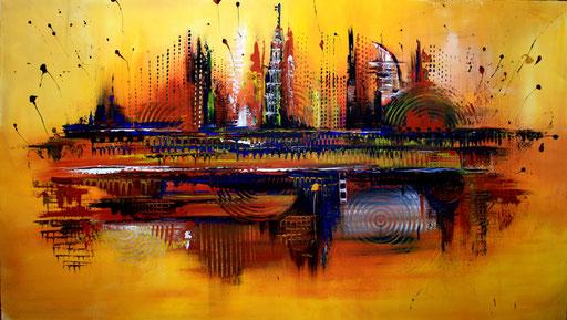 42 Kunst Unikat abstrakt - Dubai - gelb grau braun rot