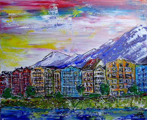 S 49 - Innsbruck abstrakt Uferpromenade 50x60 - Malerei Stadtbild Stadt Gemälde