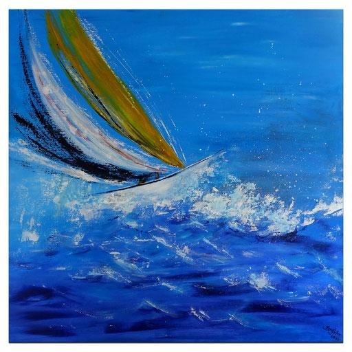 L 38 Wellenritt mit Segelboot Acrylmalerei Kunstbild Malerei