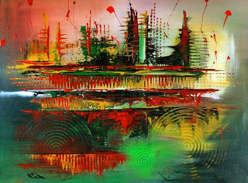 210 Verkaufte abstrakte Malerei - Waldrodung gemalt - grün rot gelb